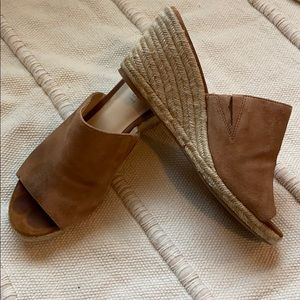 Nine West mules with espadrille wedge